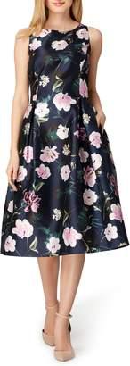 Tahari Print Mikado Midi Dress