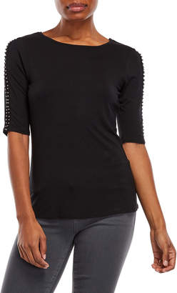 Cable & Gauge Beaded Three-Quarter Sleeve Top