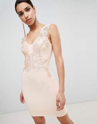 Lipsy plunge neck lace applique bodycon dress