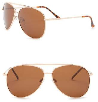 Steve Madden 60mm Aviator Polarized Metal Frame Sunglasses