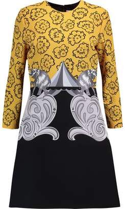Victoria Beckham Victoria Cloqué And Printed Crepe Mini Dress