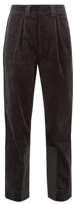 Ganni Mid Rise Cotton Corduroy Trousers - Womens - Dark Grey