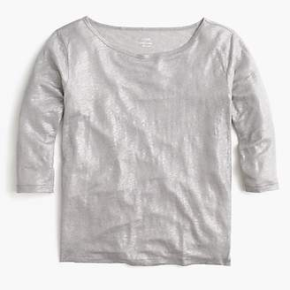 J.Crew Linen boatneck T-shirt in metallic