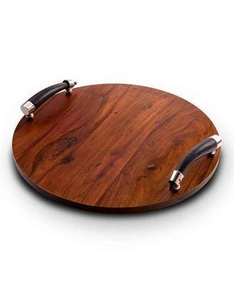 Mary Jurek Orion Round Wood Tray with Horn Handles
