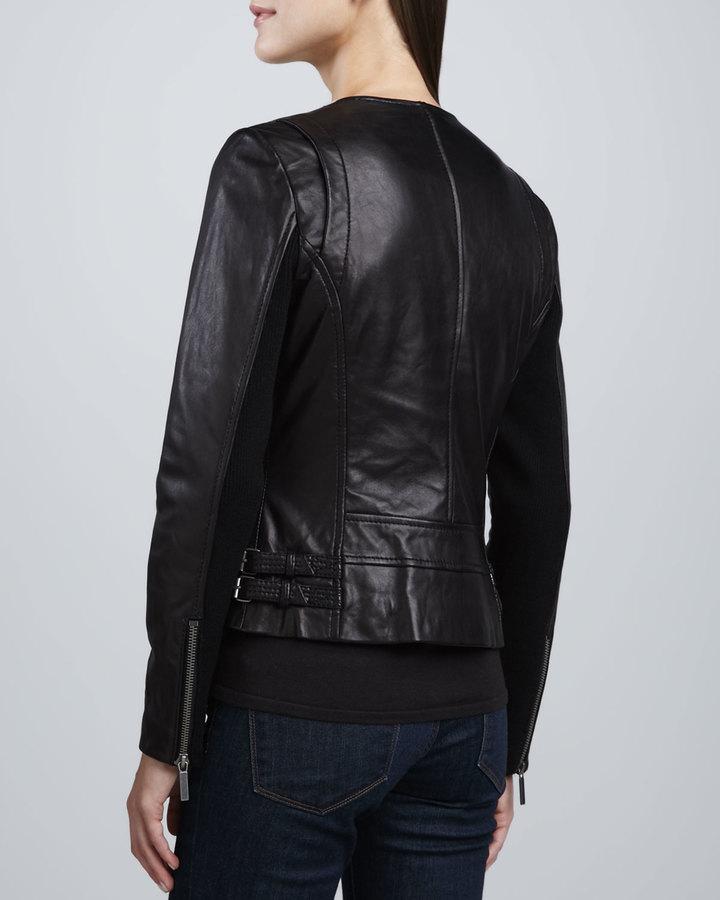Neiman Marcus Shearling-Collar Leather Biker Jacket