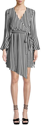 Bardot Striped Bell-Sleeve Wrap Dress