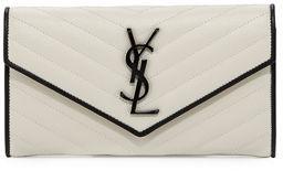 Saint Laurent Monogram Leather Large Flap Continental Wallet $775 thestylecure.com