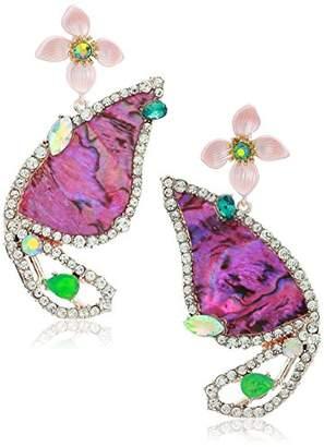 Betsey Johnson GBG) Paradise Lost Women's Flower Butterfly Drop Earrings