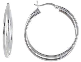 Argentovivo Sterling Silver Double Squared 33mm Hoop Earrings