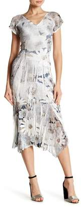 Komarov Flutter Sleeve V-Neck Midi Dress