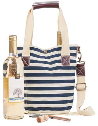 Cathy's Concepts Monogram Stripe Wine Tote