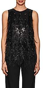 Koche Women's Sequin- & Feather-Embellished Satin-Back Top-Black