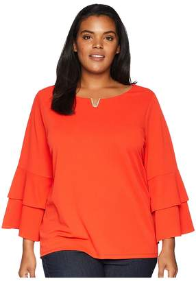 Calvin Klein Plus Plus Size Double Ruffle Blouse w/ Hardware Women's Long Sleeve Pullover