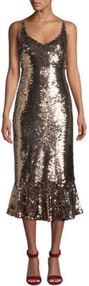 Saloni Aidan Sequined Midi Flounce Cocktail Dress