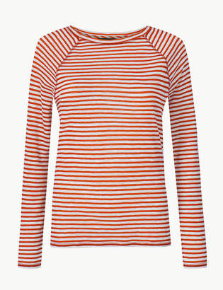 8686da08d9 M&S CollectionMarks and Spencer Striped Round Neck Long Sleeve Top