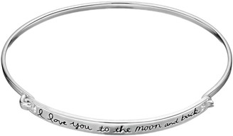 "Timeless Sterling Silver ""I Love You to the Moon and Back"" Bangle Bracelet"