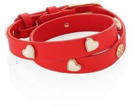 Tory BurchTory Burch Amore Heart Double-Wrap Leather Bracelet