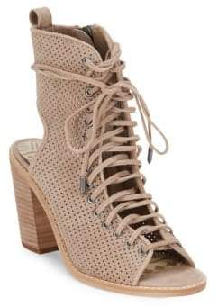 Dolce Vita Lira Sand Perforated Leather Ankle Boots