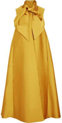 Merchant Archive - Oversized Pussy-bow Duchesse-satin Coat - Gold