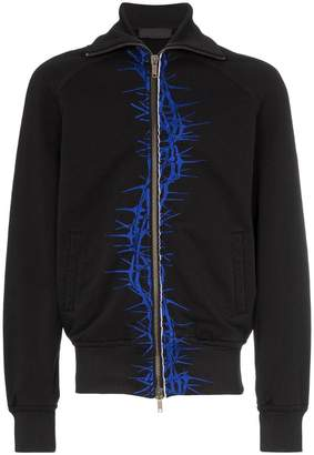 Haider Ackermann barbwire print zip up cotton cardigan