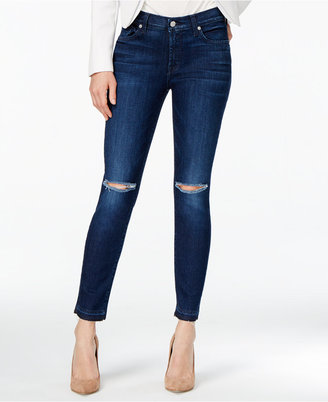 7 For All Mankind Ripped Skinny Jeans $199 thestylecure.com