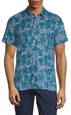 Perry Ellis Leaf-Print Button-Down Shirt