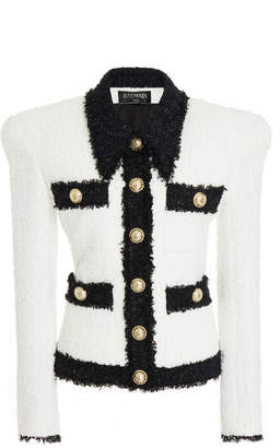 Balmain Buttoned Contrast Tweed Cotton-Blend Jacket
