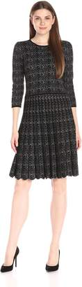 Taylor Dresses Women's 3/4 Sleeve Printed Fit and Flare Sweater Dress