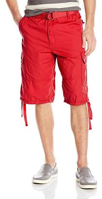 Southpole Men's Belted Shorts with Cargo Pockets in Basic Color and Twill Fabric