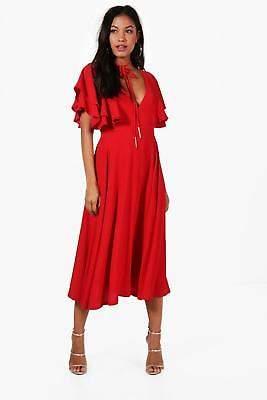 boohoo NEW Womens Ruffle Sleeve Bolo Tie Midi Dress in Polyester
