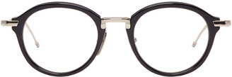 Thom Browne Navy & Silver TB-011 Glasses $675 thestylecure.com