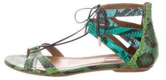 Aquazzura Snakeskin Ankle Strap Sandals