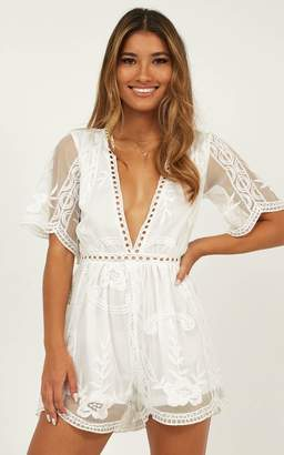 8399ff3c036b Showpo Face the love playsuit in white lace - 14 (XL) Playsuits