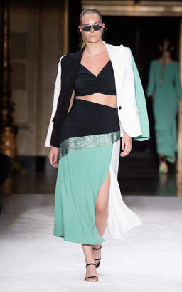Christian Siriano High-Waisted Color-Block Jersey Skirt Size: 4