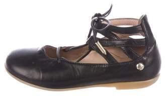 Aquazzura Mini Girls' Leather Ballerina Flats