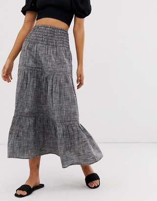 Asos Design DESIGN grey chambray tiered midi skirt