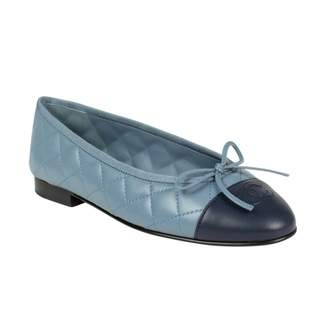 Chanel Blue Leather Flats