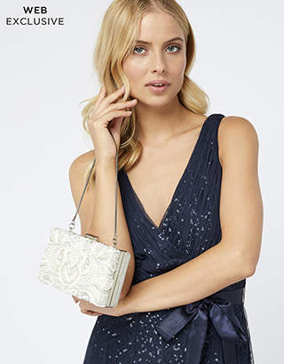 Monsoon Wanda White Embroidery Bridal Bag