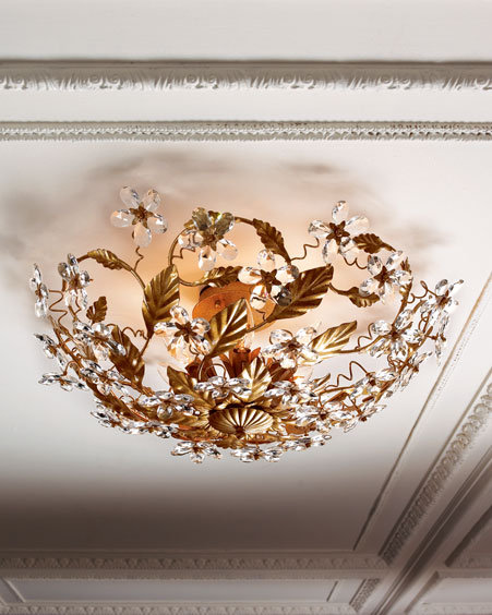 Crystal Flower Ceiling Fixture