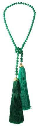 Tasseled Beaded Gold-Tone Necklace