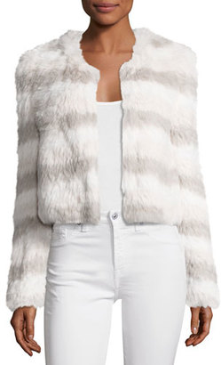 Joie Toshi Layered Cropped Fur Jacket, Foggy MT Multi $1,198 thestylecure.com