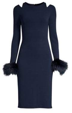 Alice + Olivia Tabitha Fox Fur Trimmed Sheath Dress