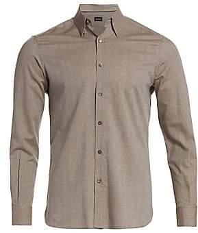 Ermenegildo Zegna Men's Solid Brushed Shirt