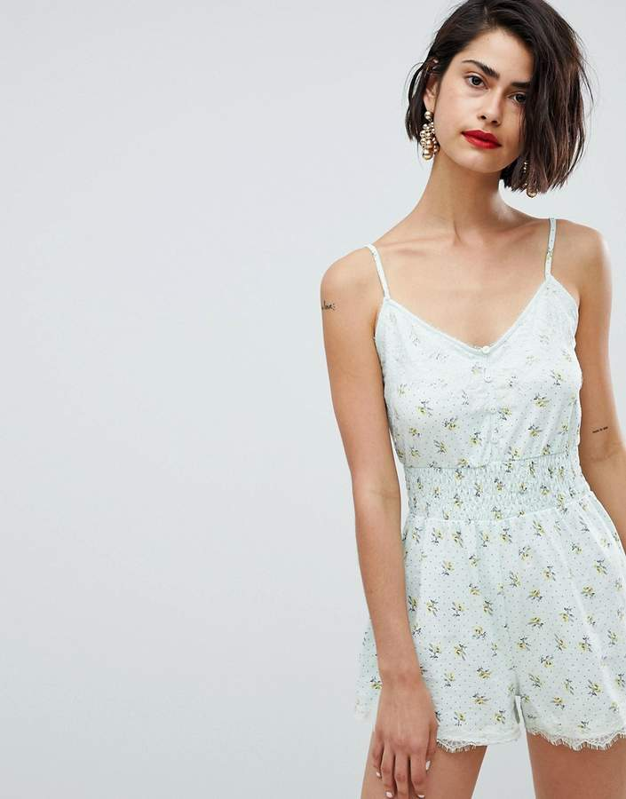 DESIGN cami romper with shirred waist and lace trim in print