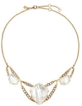 Alexis Bittar Miss Havisham Mosaic Mother-Of-Pearl & Crystal Geometric Bib Necklace