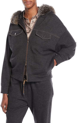 Brunello Cucinelli Zip-Front Cashmere Hoodie Jacket w/ Fox Fur & Monili Pockets
