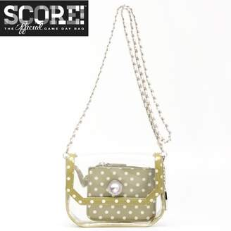 clear PU Cross Body Shoulder Bag for Game Day Chrissy Olive Green & White by SCORE! The Official Game Day Bag Two Piece Set