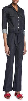 Carolina Ritzler The 73 Long-Sleeve Snap-Front Belted Denim Jumpsuit