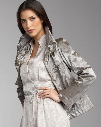 Armani Collezioni Metallic Drawstring Jacket