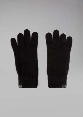 Giorgio Armani Gloves In Pure Cashmere With Leather Label